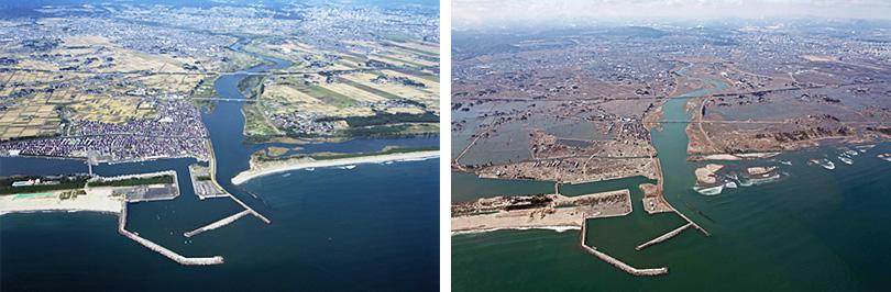 震災前後を比較した名取川河口部の空撮写真(撮影日は左:2009年10月12日/右:2011年3月18日、国土交通省東北地方整備局仙台河川国道事務所提供)