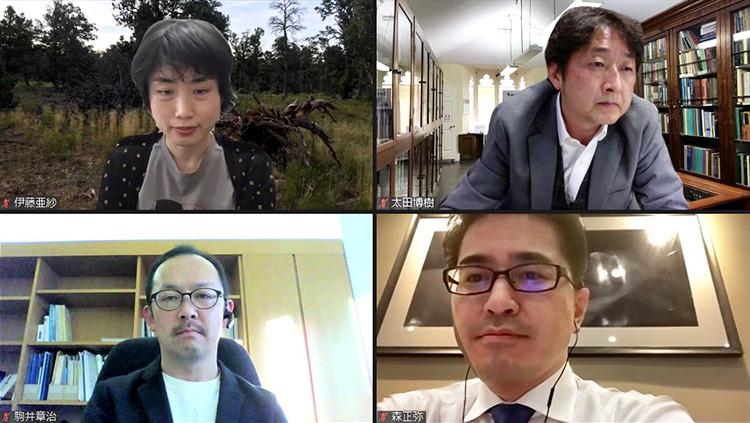 オンラインで参加した伊藤亜紗さん(左上)、太田博樹さん(右上)、駒井章治さん(左下)、森正弥さん(右下)