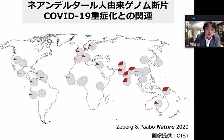 ネアンデルタール人由来のゲノム断片と新型コロナウイルス感染症重症化の話をする太田博樹さん