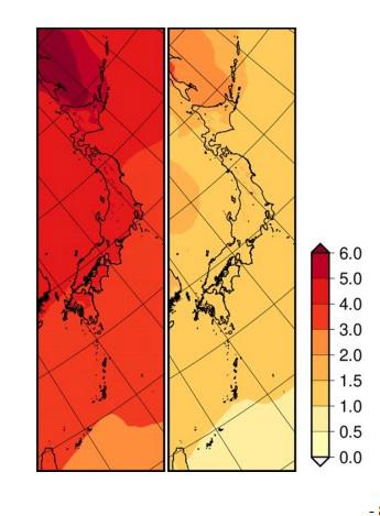 21世紀末の日本の年平均気温の変化分布。左は4度上昇シナリオ、右は2度上昇シナリオ。右端の数字は上昇温度数を示す(文部科学省と気象庁提供)