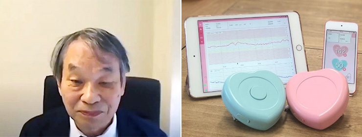 原量宏さん(左)と超小型モバイル胎児モニター(香川大学提供)