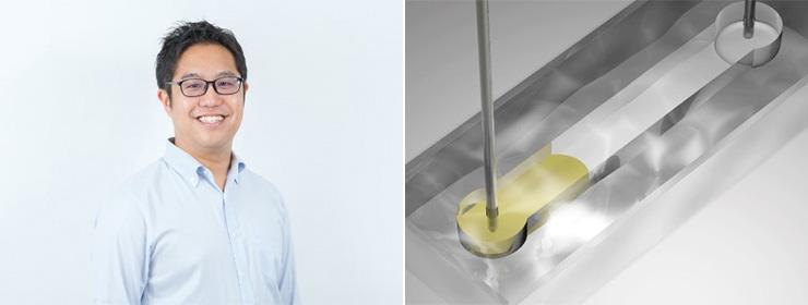 小野瀬隆一さん(左)と尿を注入する独自デバイス(2枚ともCraif提供)