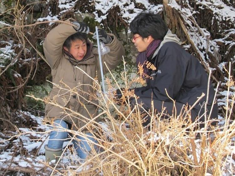 樹液を採取する神松さん(左)=2017年2月、奈良県上北山村(立命館大学提供)