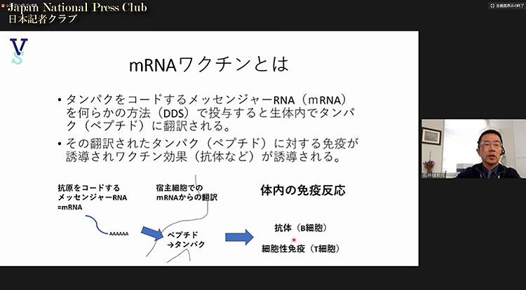 メッセンジャーRNAワクチンの仕組み(日本記者クラブ・石井健氏提供)