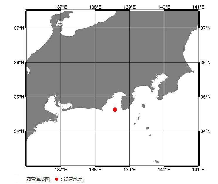 赤い丸の地点でヨコヅナイワシが見つかった(JAMSTEC提供)