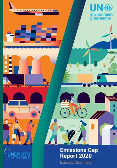 UNEPの「2020年排出ギャップ報告書」の表紙(UNEP提供)