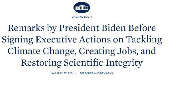 気候サミット開催など気候対策強化を進めることを明らかにしたバイデン米大統領の記者会見内容を伝える米ホワイトハウスホームページ