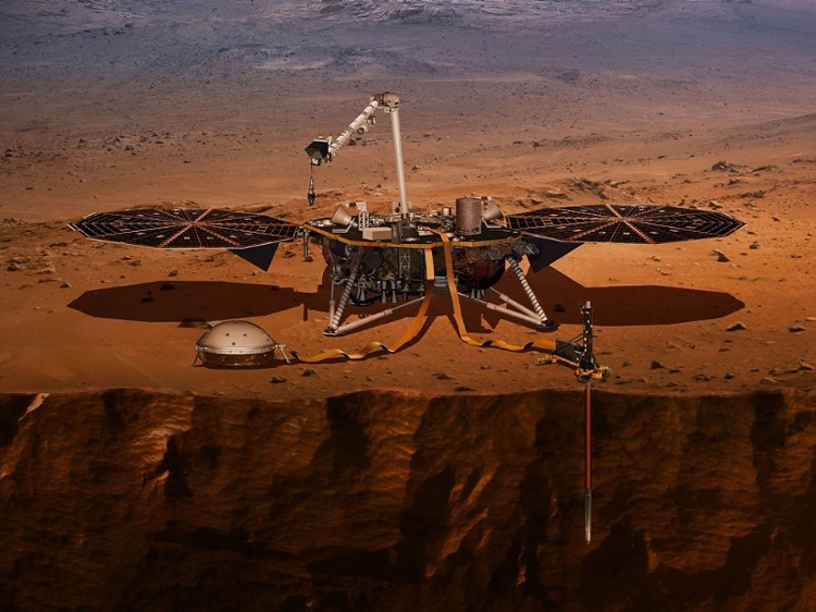 インサイトの想像図。右手前が断念した地下の観測機器(NASA提供)