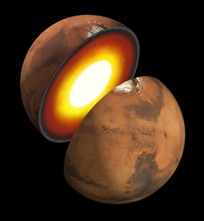 火星内部の想像図。中心部は液体であるとの見方があるが、さらなる研究が期待される(NASA提供)
