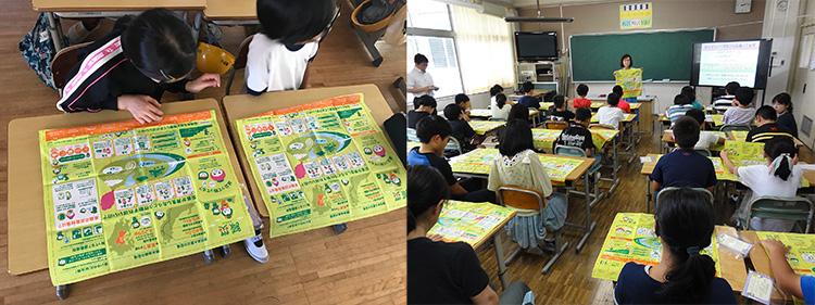 小学校で「減災ハンカチ」を用いて教えるIRIDeSの保田真理さん(IRIDeS 提供)