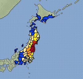 13日深夜に起きた地震は震度6強を最大に東日本の広い範囲で大きな揺れが観測された(気象庁提供)