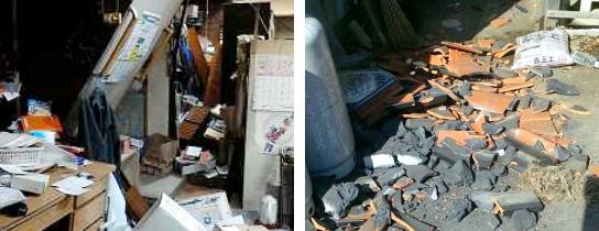 福島県相馬市の民家内の状況(左)と同県新地町の民家から落ちた屋根瓦(右)(いずれも仙台管区気象台・福島地方気象台提供)