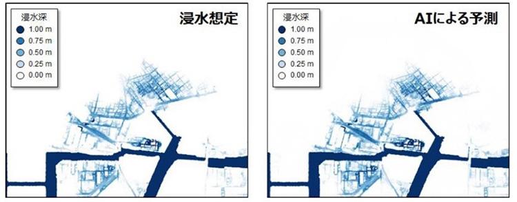 南海トラフ巨大地震の浸水想定(左、波源モデルは内閣府による)と開発したAIによる予測。AIは高精度に予測できる(東北大学災害科学国際研究所、富士通研究所提供)