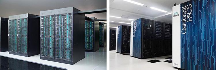 「富岳」(左、理研計算科学研究センター提供)と「Oakforest-PACS」(東京大学・筑波大学・富士通提供)