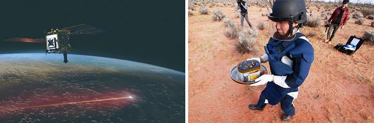 昨年12月、地球に向けカプセルを分離した「はやぶさ2」の想像図(左)と、オーストラリアの砂漠地帯で回収されたカプセル(いずれもJAXA提供)
