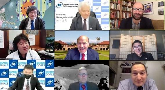 米スタンフォード大学の研究者とJST関係者、JSTが支援する著名な研究者とオンライン画面上で集い、議論した