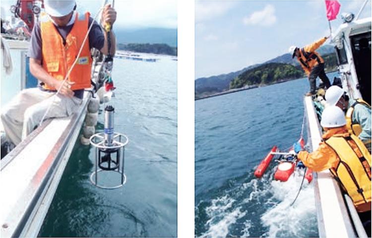 左:深さ10センチごとに水温や塩分を計ることができるCTD(Conductivity Temperature Depth)右:超音波を発射し、塵や生き物にあたって戻ってくる反射波から潮の向きと速さを計るADCP(Acoustic Doppler Current Profiler)(いずれも提供:TEAMS)