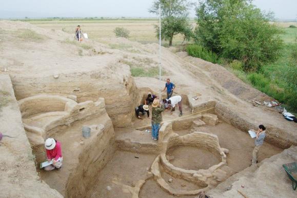 ギョイテペ遺跡での発掘調査の様子(名古屋大学提供)