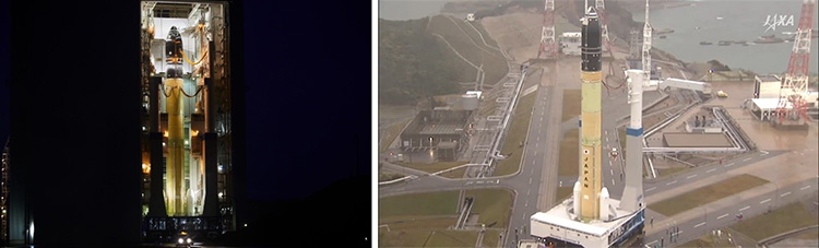 移動発射台に載り組立棟から姿を現したH3(左)と、発射地点へと方向転換するH3=17日、鹿児島県南種子町(いずれもJAXA提供)