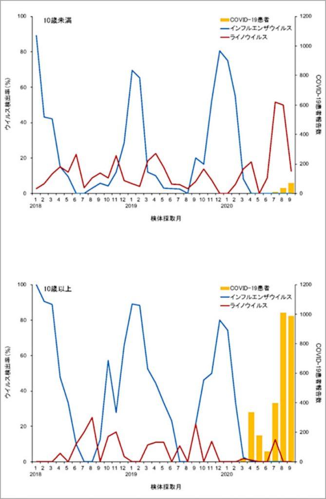 横浜市でのインフルエンザウイルス(青い折れ線)とライノウイルス(赤い折れ線)の検出率と新型コロナウイルス感染症(COVID-19)の患者報告数(黄色の棒)。上は10歳未満、下は10歳以上(東京大学医科学研究所提供)