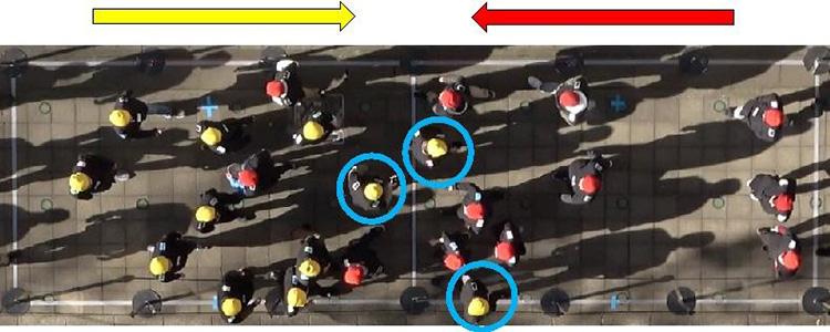 実験を上から撮影。青い円内の人はスマホで計算問題を解かされている(京都工芸繊維大学提供)