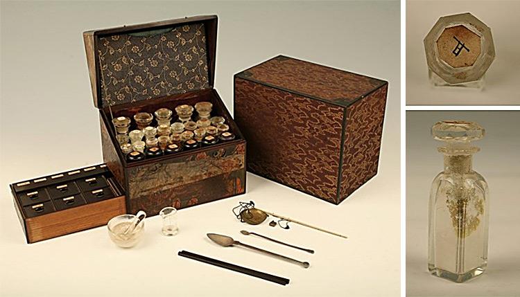 緒方洪庵の薬箱(左)と、その中に残された薬瓶の一つ(いずれも高橋京子・大阪大学招へい教授提供)