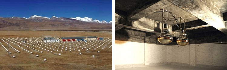 チベットに設置されたガンマ線などの観測装置(左)と、地下のミュー粒子検出装置(下)。(チベットASγ実験グループ提供)