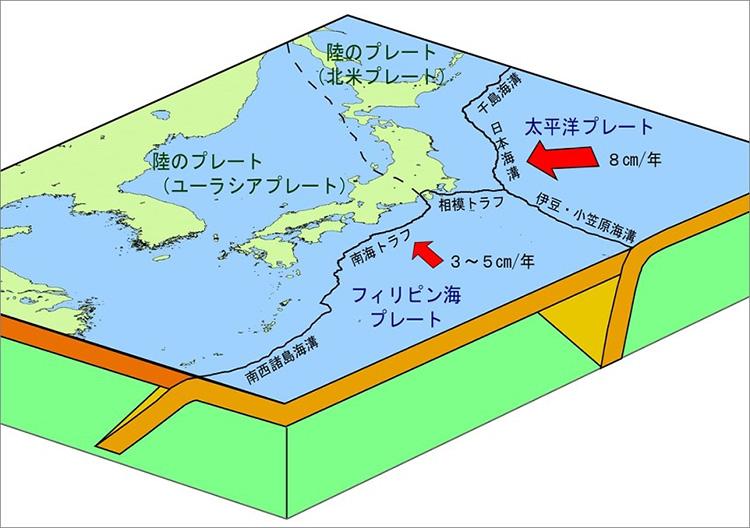 日本列島周辺の4つのプレートと海溝(気象庁提供)