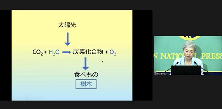 人間を含む生物にとって光合成がいかに重要かを説明する中村氏(中村桂子氏/日本記者クラブ提供)