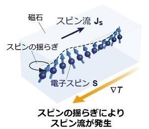 電子スピンのスピン流の概念図(東京大学提供)