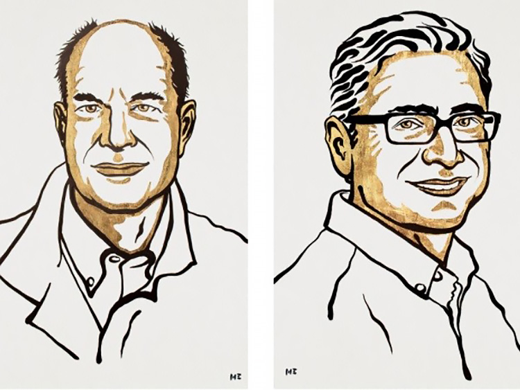 ノーベル医学生理学賞の受賞を決めたデビッド・ジュリアス氏(左)、アーデム・パタポウティアン氏のイラスト(ニクラス・エルメヘード氏、ノーベル財団提供)