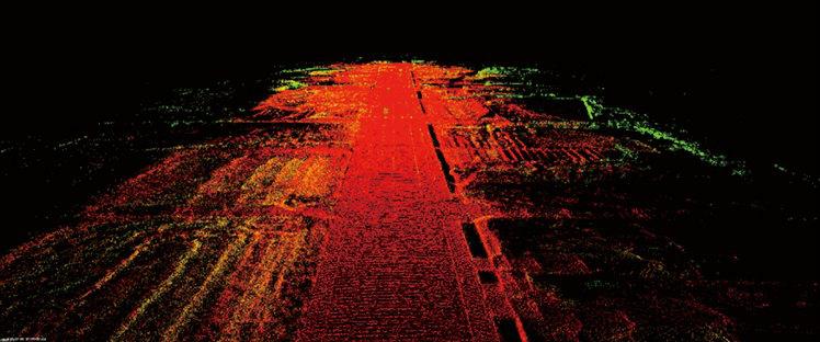 自動運転車で走行しながらLiDARで得た路面状況データ。