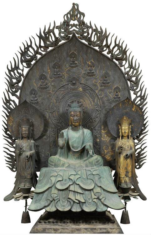 法隆寺釈迦三尊像(国宝)の再現 (写真提供:東京藝術大学COI拠点)