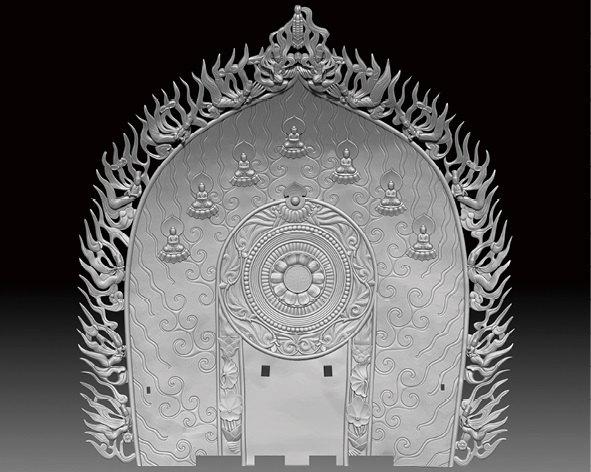 B: 飛天まで復元した大光背の3Dデータ 写真提供:400年を超える高岡市の鋳物技術と600年を超える南砺市の彫刻技術を活用した地場産業活性化モデルの構築・展開事業推進 協議会