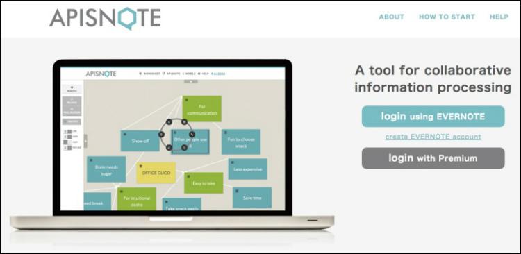 たくさんの人でアイデアを出し合うイベント「アイデアソン」を、ネット上で行うことを支援するツール「APISNOTE (apisnote.com)」。アイデアを書き 込んだバーチャル付箋紙を色分けしたり、貼る位置を変えたりしながら、アイデアを具体化するのに役立つ。写真やイラストから付箋紙を作れるほか、WEB上のデータとのリンクを張ることもでき、データの整理や分析もやりやすい。 画像提供:中山浩太郎