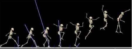ハンドボール選手のシュート動作をコンピューター内でシミュレーション。 動きの細部がよくわかる 画像提供:東京大学スポーツバイオメカニクス研究室