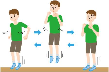 正しいフォームで走るためのドリル例2:ホッピング 速く走るためには、足で素早く地面を蹴ることが大事。両手を後ろに振って高くジャンプすることで、そのコツが身につく。