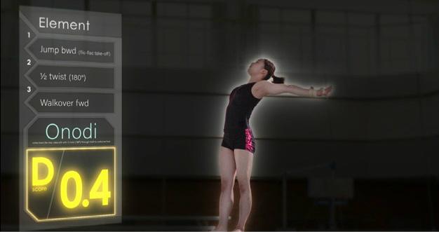 技と難易度がリアルタイムで表示されるテレビ放送用画面(イメージ)。 画像提供:富士通
