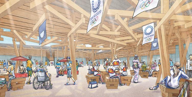 選手村ビレッジプラザの内観イメージ(上記イメージは、計画途中のものであり、今後変更となる可能性があります) (©Tokyo 2020)